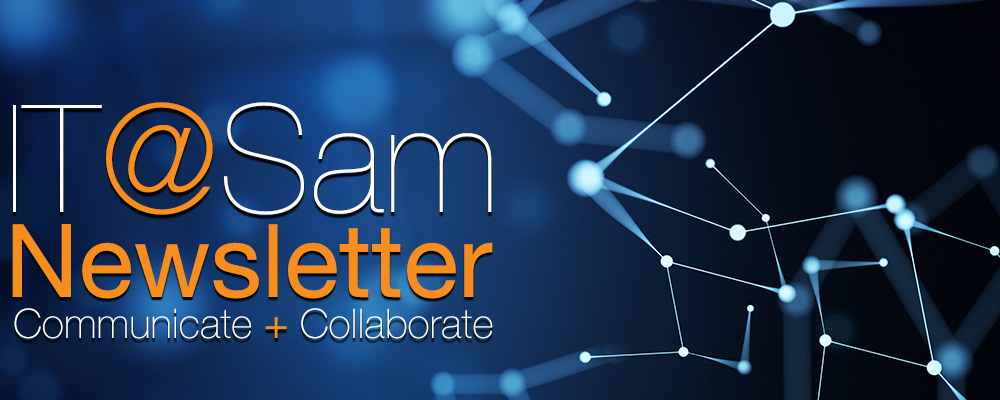 Blue network graphic with IT@Sam Newsletter text