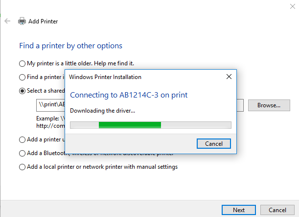 Computer connecting to printer