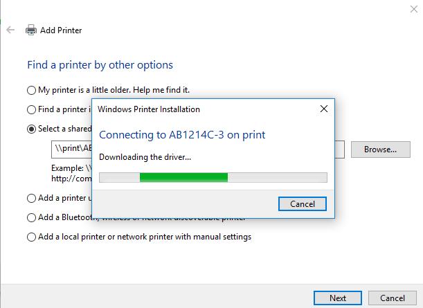 Adding Network Printers (Windows 10)