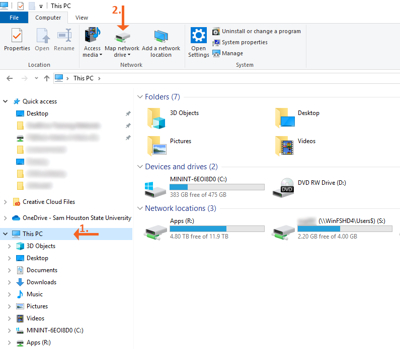 2.Windows Explorer Select Map Network Drive