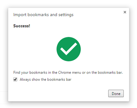 Chrome Import Done