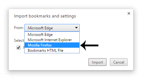 Chrome Select Import Browswer