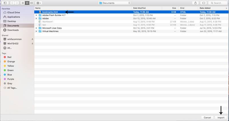 Safar iBookmark File List