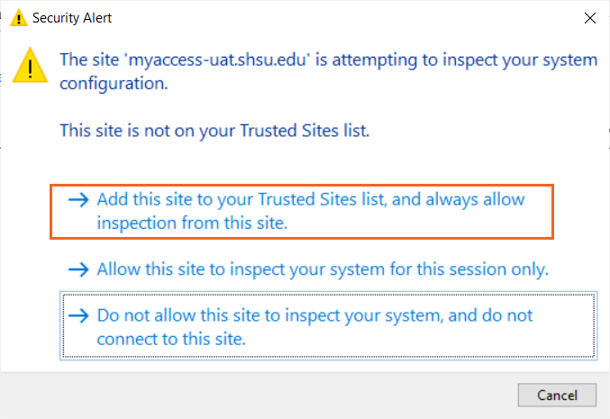 Add to Trusted Sites