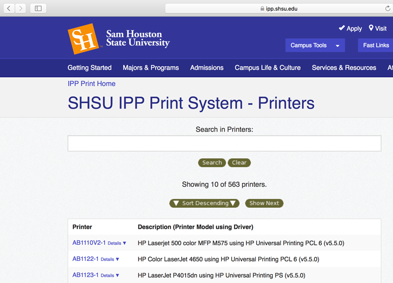 type in the first few letters of the printer and search