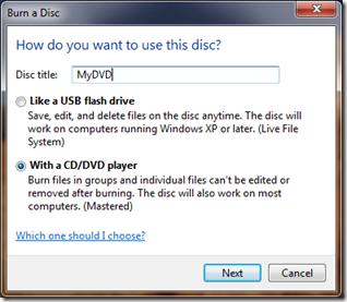 CD Burn Options