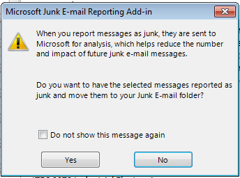 Junk Reporting Confirmation