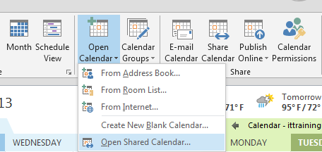 Open Shared Calendar