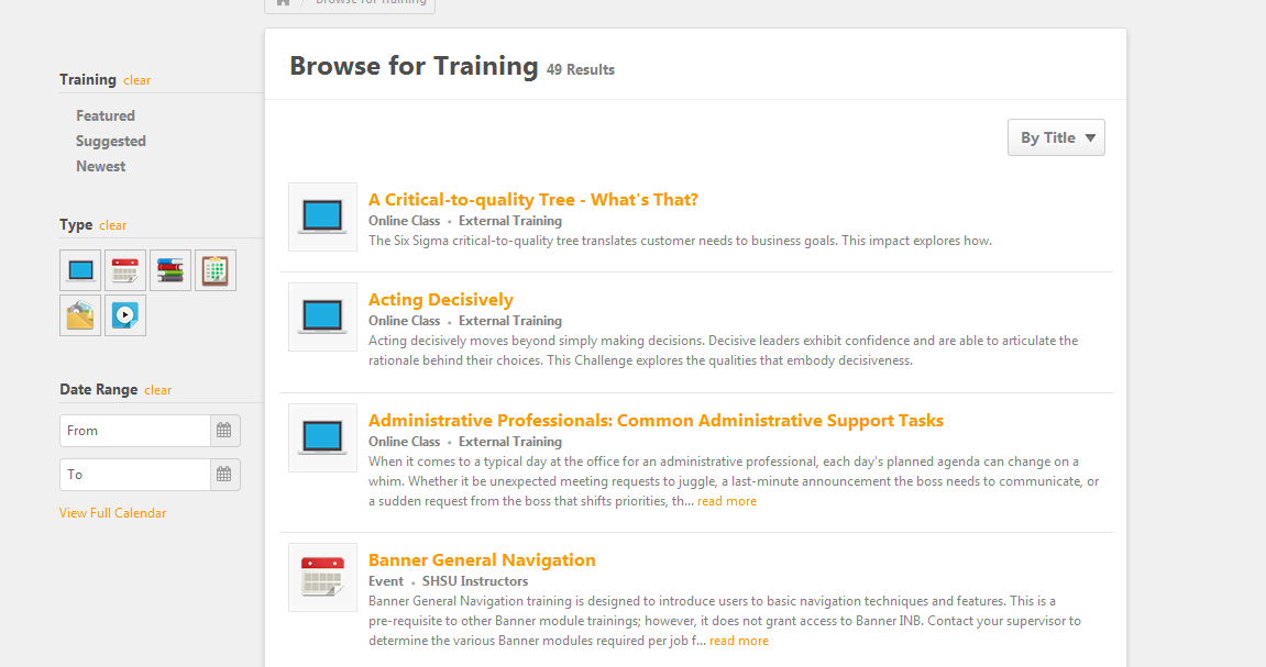 Browse Training Page