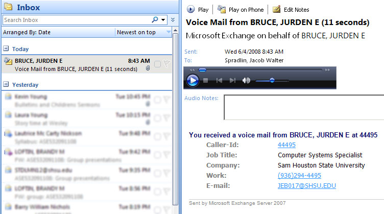 Outlook Voicemail View