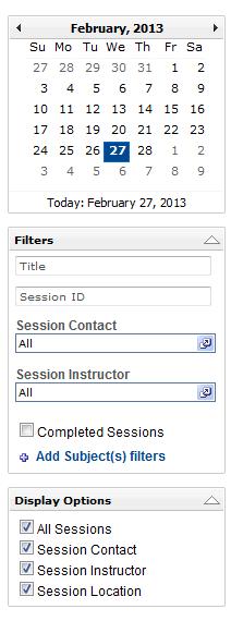 Events Calendar Filter