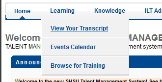 screenshot of the View Your Transcript button in talent management
