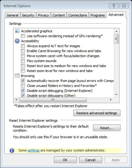 Internet Options advanced Tab