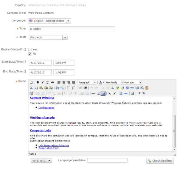 Edit Content in CMS