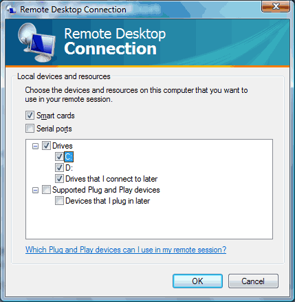 Remote Desktop local devices and resources screen