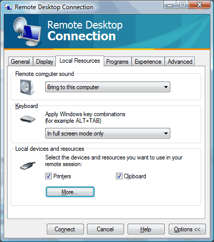 Remote Desktop Connection: Windows 8 Local Resources