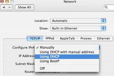Click on the Built-in Ethernet option. In the Network dialog, click on the TCP/IP button. Set the Configure IPv4 menu to Using DHCP.