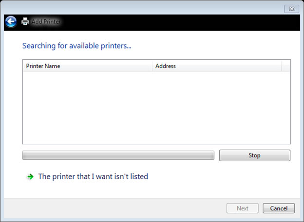 Printer Was Not Listed