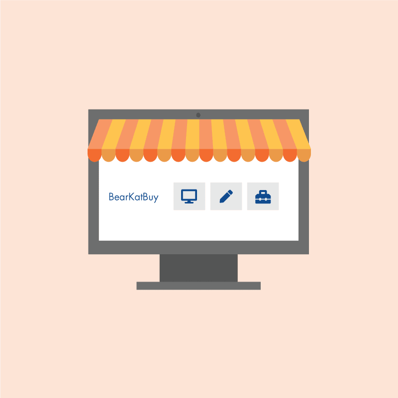 vector graphic of desktop with store canopy