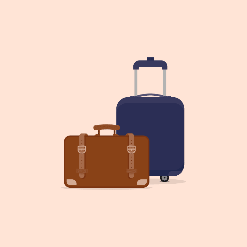 vector graphic of rolling luggage