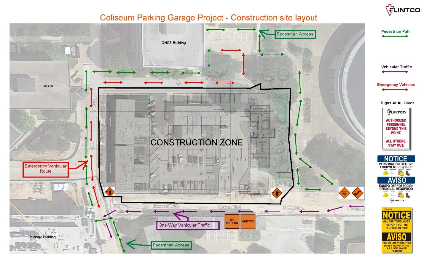 Coliseum Parking Garage Construction Traffic Flow