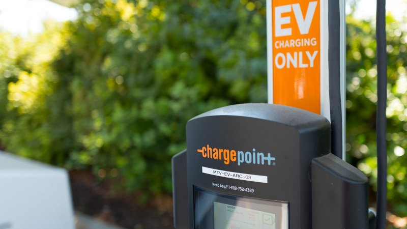 chargepoint charging station close up