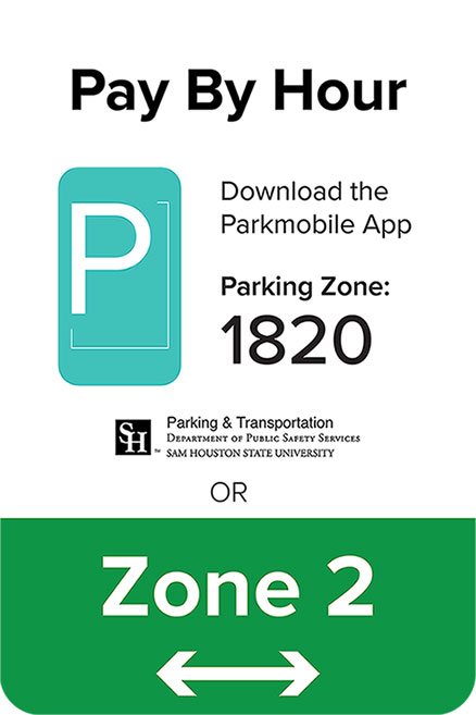 pay by hour or zone 2 parking sign