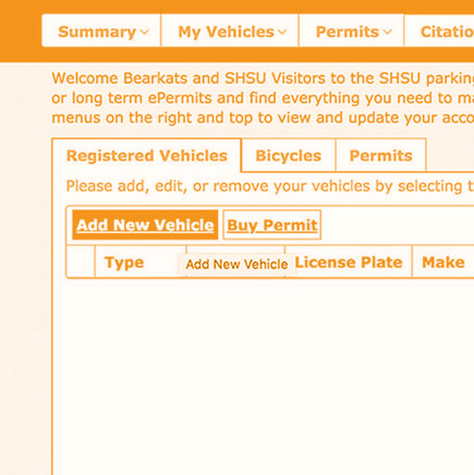 Click add vehicle the parking portal to register your vehicle