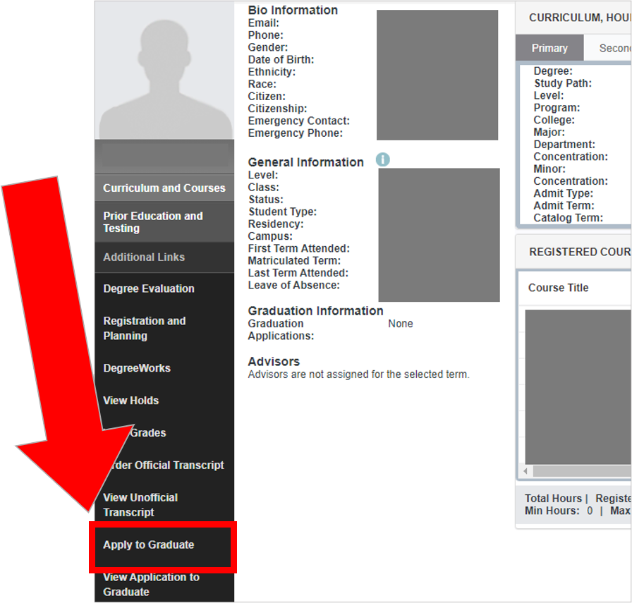 Screenshot of Student Profile screen with an arrow pointing to Apply to Graduate, located under the Additional Links menu.