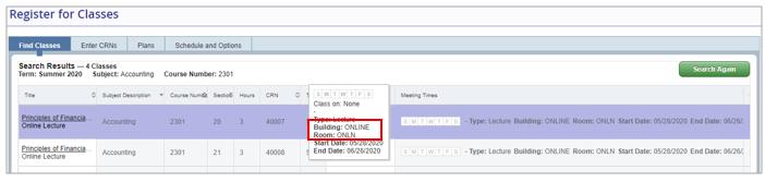 A screenshot of the schedule of classes featuring an Online class.