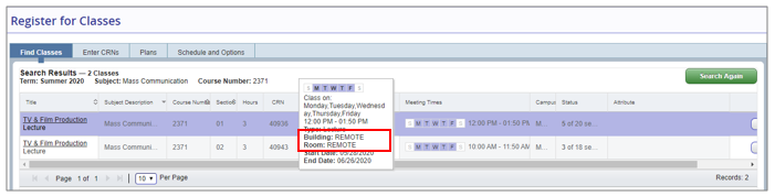 A screenshot of the schedule of classing featuring a Remote class.