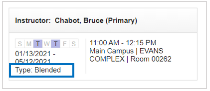 A screenshot of 'Instructor/Meeting Times' panel with box around 'Type: Blended'