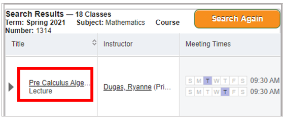 A screenshot of Schedule of Classes search results with box around course title
