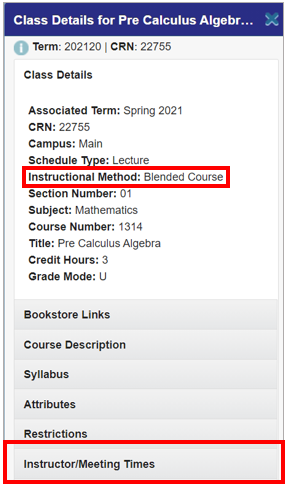 A screenshot of 'Class Details' window with box around 'Instructional Method' and around the 'Instructor/Meeting Times' tab