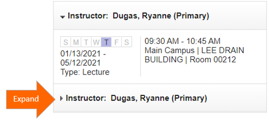 A screenshot of 'Instructor/Meeting Times' panel with an arrow pointing to expand the dropdown