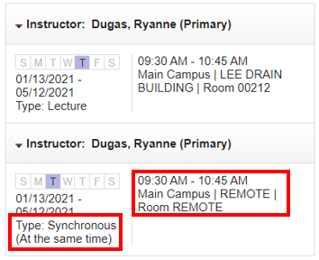 A screenshot of 'Instructor/Meeting Times' panel with box around 'Type' information and around the time, campus and room information
