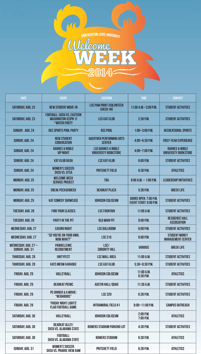Welcome Week 2014 Schedule