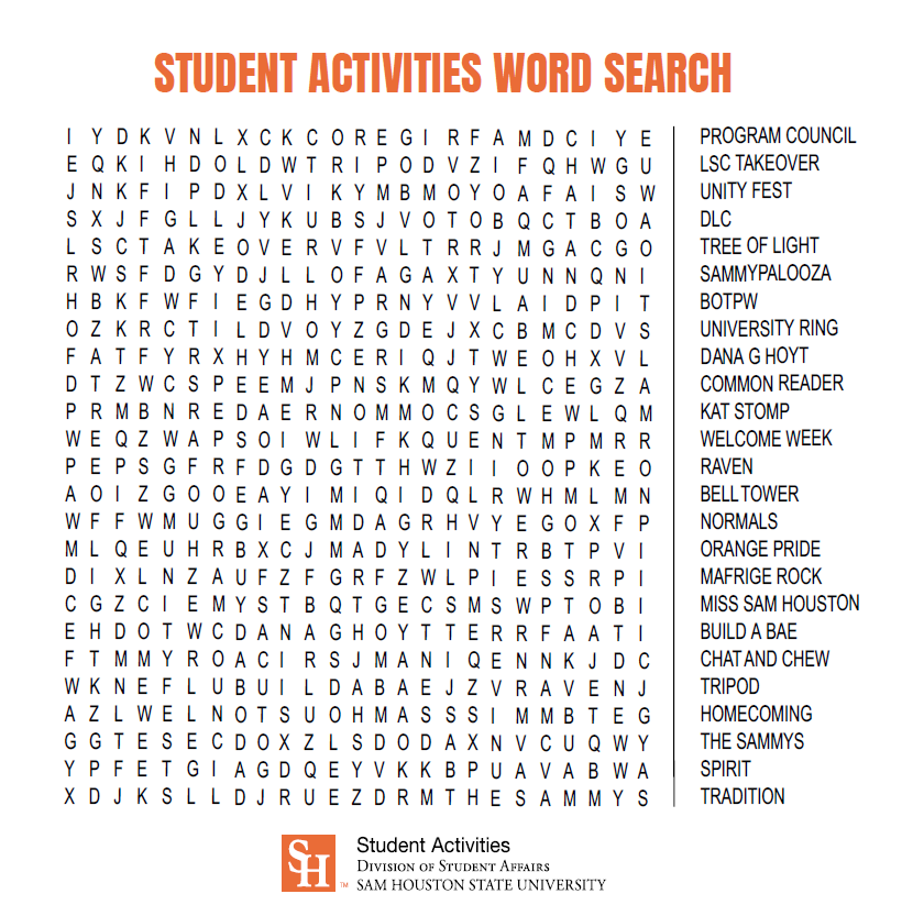 Student Activities Word Search