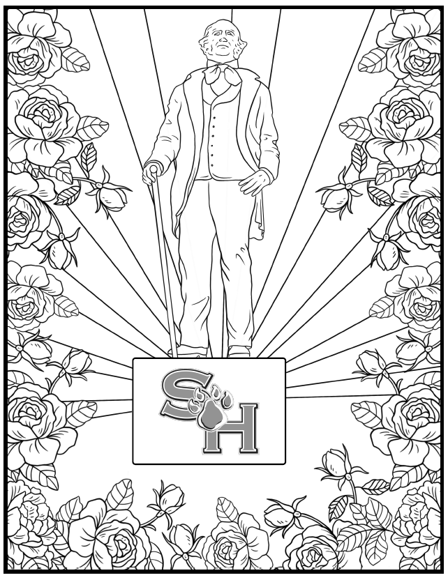 Sam Houston Statue with Flower coloring sheet