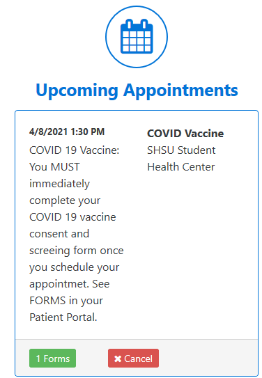 Screenshot of upcoming appointments box on the home screen of the patient portal.