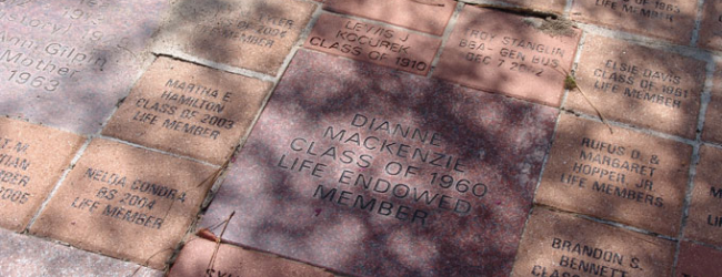 Photo of the engraved bricks in the Alumni Garden.