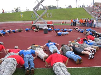 The Cadets Conduct Push-ups after the score.