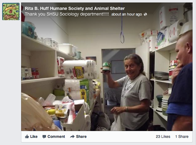 Rita B. Humane Society and Animal Shelter Thank you SHSU Sociology department!!!! about an hour ago