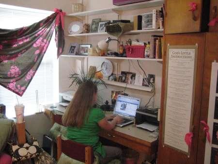 Student working at dorm desk