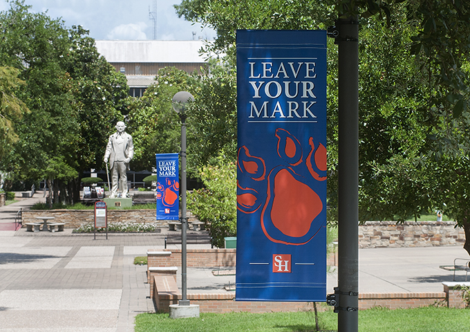Sam Houston statue and banners