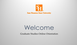Welcome to Graduate Studies Online Orientation