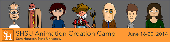 Images of cartoon characters with SH logo and the words Animation Creation Camp