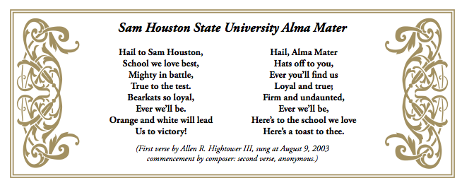 Sam Houston State University Alma Mater song