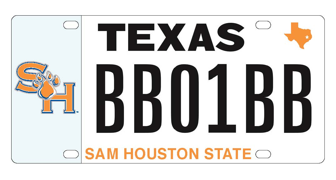 Sam Houston State Texas License Plate with BB01BB