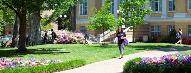 Students walking on paths on campus
